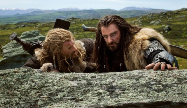 Dean O'Gorman as Fili and RA as Thorin Oakenshield in The Hobbit: An Unexpected Journey.
