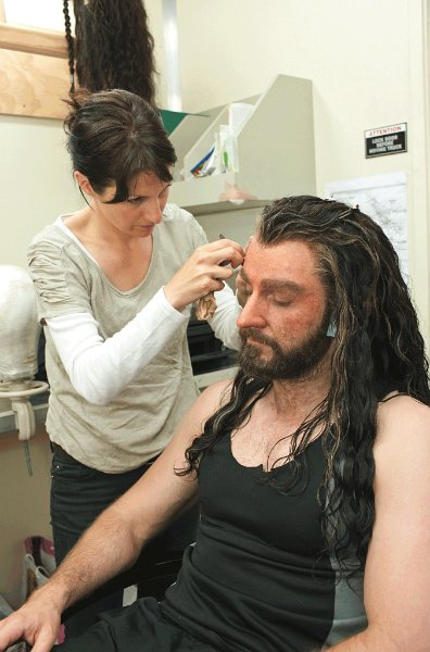 Richard being transformed into Thorin, a process that took several hours each morning.