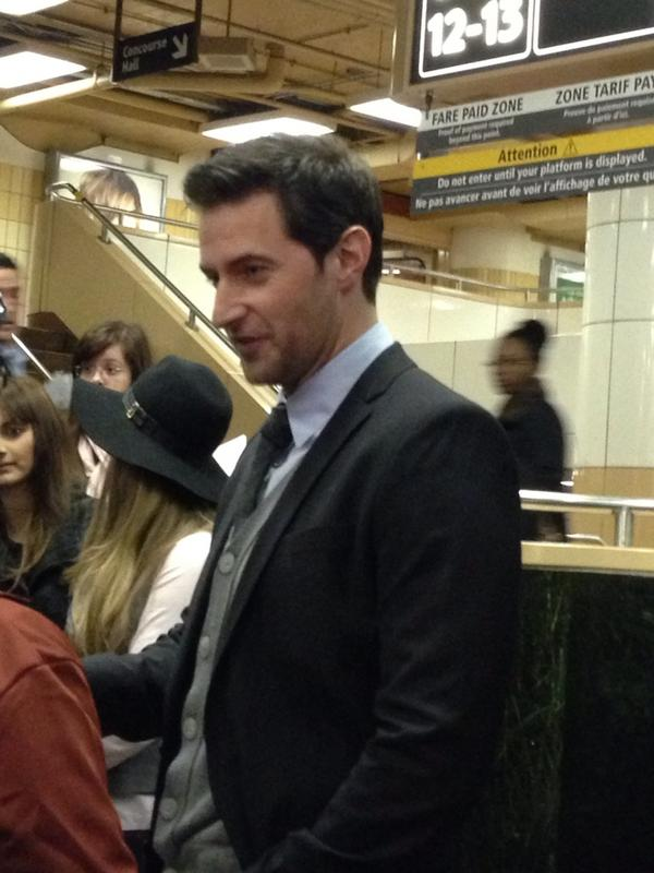 Richard Armitage at Union Station in Toronto this morning.