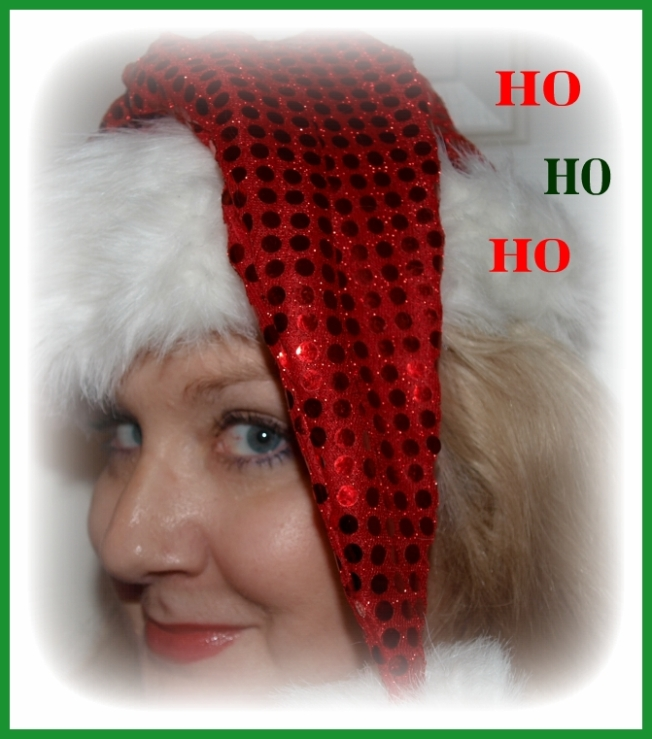 My Glitzy Santa Cap, perfect for a bit of Christmas tree hunting, yes?
