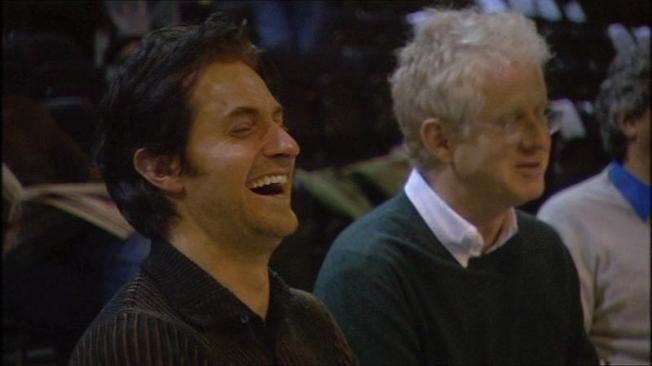 Richard letting out a big belly laugh during rehearsals for Vicar of Dibley.