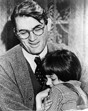 Atticus Finch (Gregory Peck) with daughter Scout (Mary Badham).