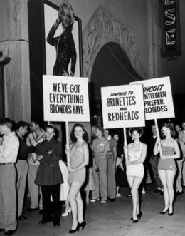 "Brunettes picket the film ""Gentlemen Prefer Blondes."""