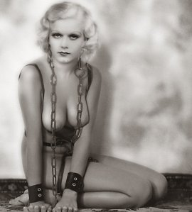 "Jean Harlow, 1930s bombshell, who played the quintessential dumb blonde in the classic ""Dinner at Eight."""