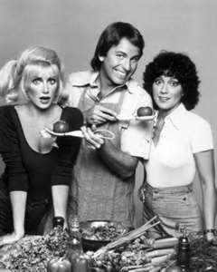 Suzanne Somers, left, as dizzy blonde Chrissy Snow with castmates John Ritter and Joyce DeWitt.