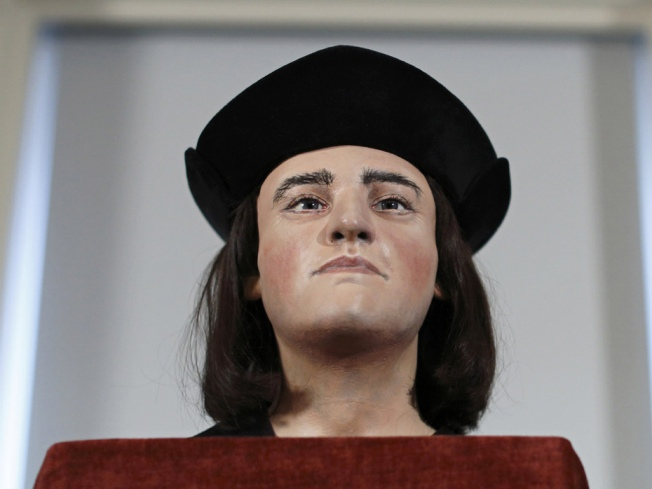 a shot of the plastic facial reconstruction of Richard III Photo courtesy of Justin Tallis/Getty Images