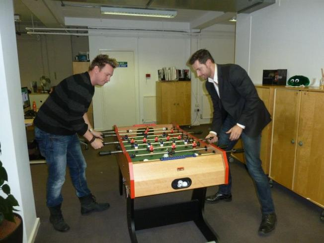 jamie edwards and Rich playing table footie