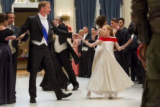 "Rupert Penry-Jones and Ellie Botteril as father and daughter in ""Crown for Christmas."""